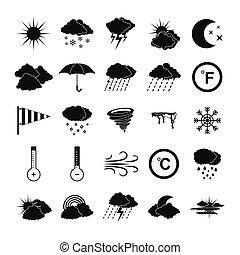 počasí, ikona, dát, jednoduchý, móda