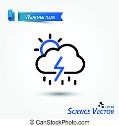 počasí, vektor, vědecký, ikona, předpověď