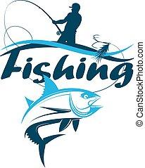 połów sylweta, rybak, tuńczyk, uchwyt, pręt