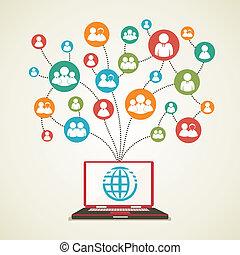 połączenie, globalny, ludzie