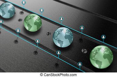 połączenie, i, komunikacja, globalny, dane dzielące