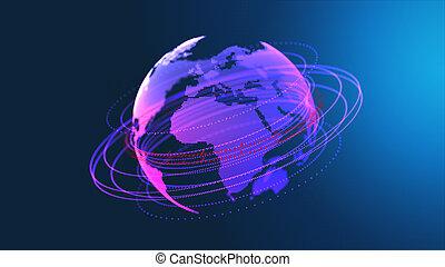 połączenie, sieć, technologia, projektować
