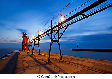 południe, port, lighthouse.
