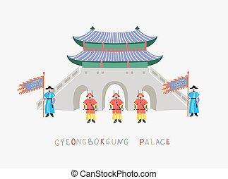 południe, seul, gyeongbokgung, zmiana, uchronić, korea, honor, pałac