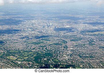 południe, wschód, londyn, perspektywa, antenowy prospekt