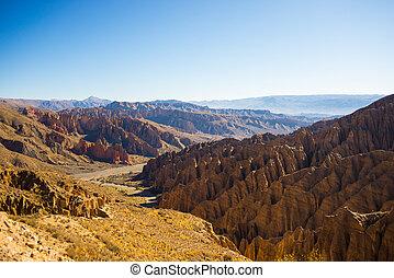 południowy, erodowany, teren górzysty, boliwia, dookoła, tupiza