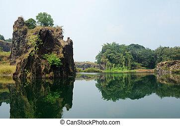południowy, kochi, malabar, jezioro, brzeg, indie, azja, ...