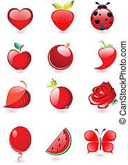 połyskujący, czerwony, ikony
