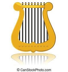 połyskujący, harfa