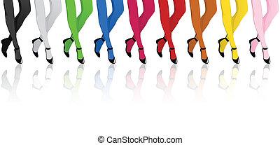 pończochy, nogi, dziewczyny, barwny