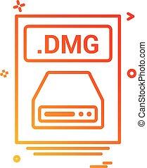 pořadač, defilovat, dmg, ikona, vektor, design