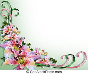 poślubne zaproszenie, asian, lilie