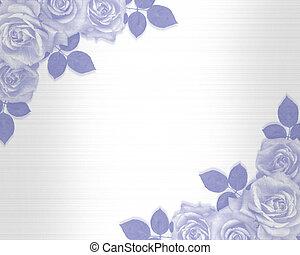 poślubne zaproszenie, błękitny, róże