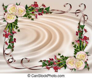 poślubne zaproszenie, elegancki, kwiatowy