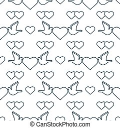poślubny dzień, valentine, próbka, gołębica, wektor, serce