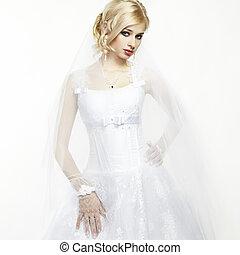 poślubny portret, od, piękny, młody, panna młoda