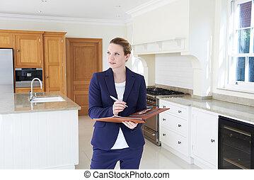pośrednik w sprzedaży nieruchomości, dookoła, próżny, patrząc, nowe posiadanie