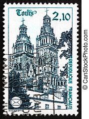 poštovné, 1985, dupnutí, francie, tours, katedrála