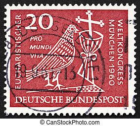 poštovné, holub, dupnutí, 1960, kalich, německo, krucifix