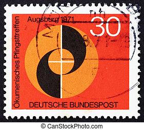 poštovné, katolík, dupnutí, 1971, evangelický, německo, přivést do kostela