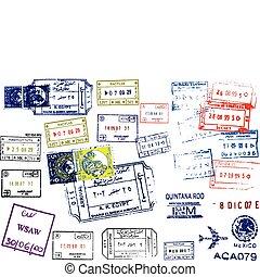 poštovní známky, cestovní pas