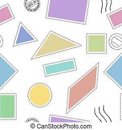 poštovní známky, seamless, model