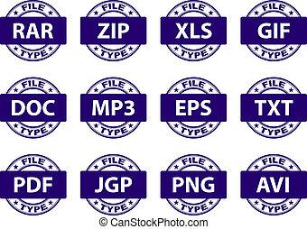 poštovní známky, vektor, dokumentovat, ikona