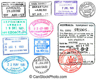 poštovní známky, visa's, cestovní pas