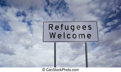 pożądany, refugees, znak, timelapse