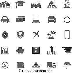 pożyczka, białe tło, ikony
