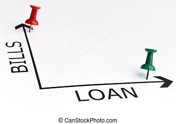 pożyczka, wykres, z, zielony, szpilka