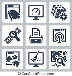 pożytek, software, wektor, komplet, ikony