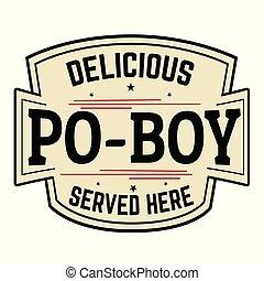 po-boy, おいしい, ラベル, アイコン, ∥あるいは∥