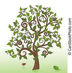 po, drzewo, deszcz