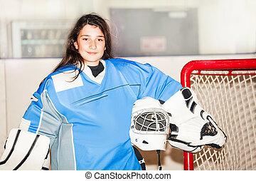 po, goaltender, przedstawianie, hokej, dziewczyna, mecz, szczęśliwy