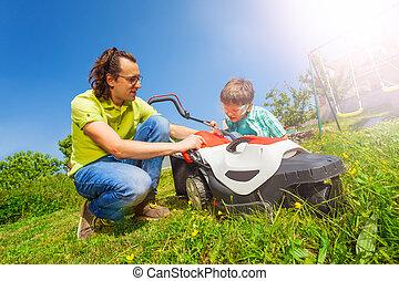 po, lawnmower, praca, ojciec, syn, czyszczenie