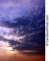po, zachód słońca, burza