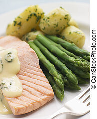 Poached Salmon with Asparagus and Sorrel Sauce