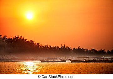 pobřeží, východ slunce