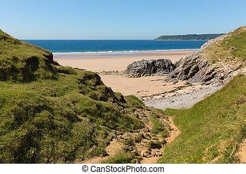 pobbles, praia, península gower, gales