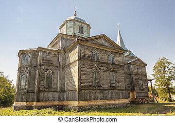 Old wooden orthodoxy church in Pobirka village near Uman - Ukraine, Europe.