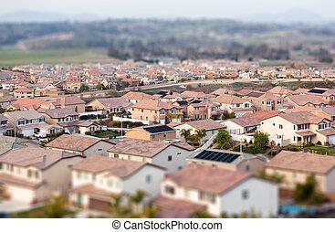 poblado, mancha, aéreo, casas, neigborhood, tilt-shift, vista