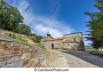 Pobladura de aliste romanic church wide angle view over blue...