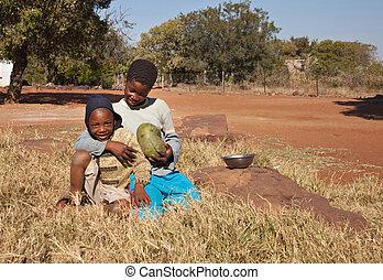 pobre, africano, crianças