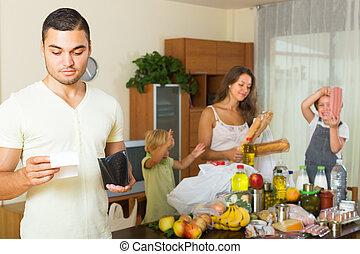 pobre, bolsas, alimento, familia