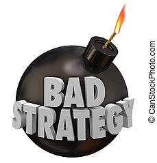 pobre, bomba, terrible, estrategia, malo, plan, palabras, visión, 3d