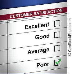 pobre, cliente, encuesta, terrible
