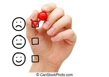 pobre, cliente, evaluación, servicio