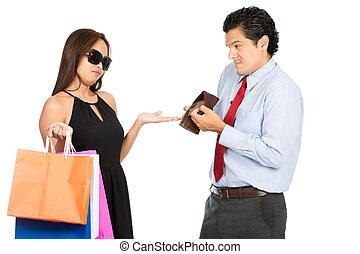 pobre, compras, esposa, dinero, no, exigente, h, marido