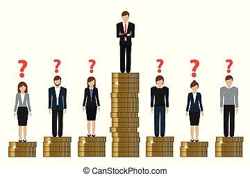 pobre, conceito, finanças, trabalho, lacuna, ricos, entre, moedas